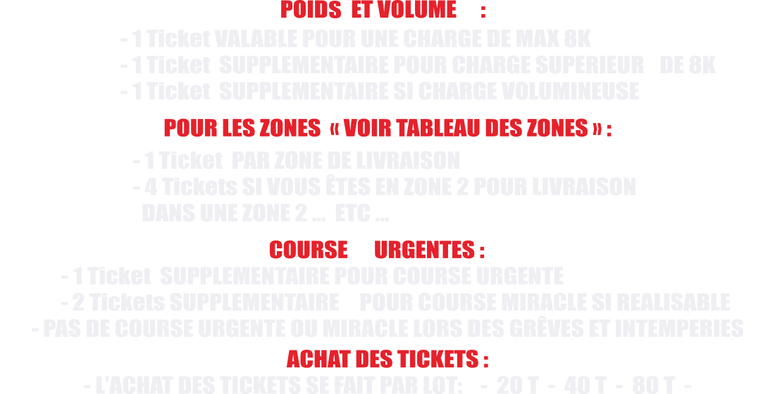 CONDITIONS D'UTILISATION DES TICKETS
